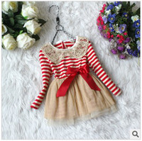 Wholesale 2013 Autumn New Arrival Fashion Cute Baby Girl s Long Sleeve Unique Sequin Lace Baby Doll Collar Dress Kid s Striped Cotton Dress