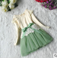 Wholesale 2013 Hot Sale Autumn New Type Korean Style Years Baby Girl s Lace Yarn Long Sleeve TUTU Dress Kid s Cute Pink Green Cotton Sweet Dress