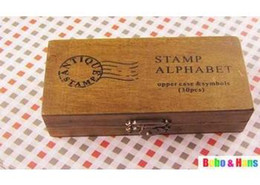 Free Shipping NEW uppercase & lowercase Wood stamp set   wooden box   30 pcs set   Wholesale