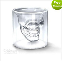 Wholesale hot sell skull cups crystal skull cup bunk skull cup round shaped colorless transparent glass cup bottle
