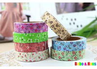 Wholesale New cute color flower style II Fabric Tape Decoration stationery Tape