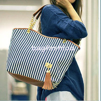 Wholesale Fashion New Women s Stripe Street bags Snap Candid Tote Shoulder Bag Z046