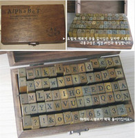 Wholesale Wooden Stamps AlPhaBet digital and letters seal set standardized form stamps Regular script letters