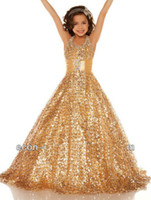 Wholesale 2013 Hot Halter Shiny Sequins Gold Flower Girl s Dress Ball gown Glitz Pageant Dresses Children Kids Princess Formal Party Floor Length