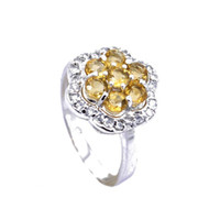 Natural crystal / semi-precious stones Citrine other / other Gift preferred natural Citrine Ring in Sterling Silver (mean ring size can be customized)