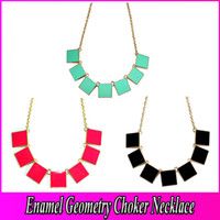 Wholesale Fashion Gold Plated Choker Necklace Metal Enamel Geometry Square Bib Statment Necklace Gold Black Choker Necklaces