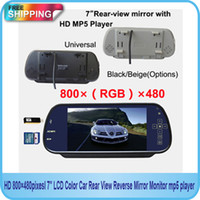 Cheap Free Shipping!!HD 800*480pixesl 7inch LCD Color Car Rear View Reverse Mirror Monitor mp5 player
