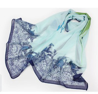 Wholesale Fashion Forward Beautiful Woman scarf elegant blue ink sunscreen Chiffon Printed Scarfs Colors CM