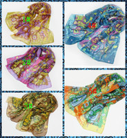 Wholesale Fashion Forward Beautiful Woman scarf Colorful palace style sunscreen Chiffon Printed Scarfs Colors CM