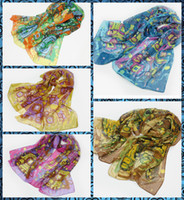 Wholesale Fashion Forward Beautiful Woman scarf Colorful Retro court style sunscreen Chiffon Printed Scarfs Colors quot quot