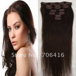 Wholesale 16 Womans Straight Clip in Remy Real Human Hair Extensions set g Dark Brown