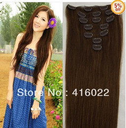 Wholesale 16 inches genuine Clip in Straight Human Hair Extensions Light Brown Color set amp g set