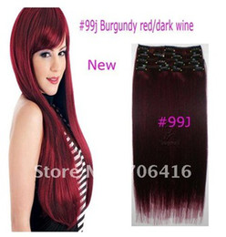Wholesale 16 Womans Straight Clip in Remy Real Human Hair Extensions set g j burgundy