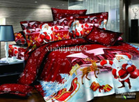 Wholesale christmas Santa Claus Cotton Queen Size Pink Duvet Doona Cover Set sheet red blue