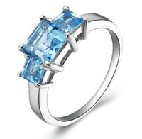 Wholesale Size Lady s Three stone Aquamarine KT White Gold Filled Ring