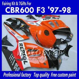 Fairing for HONDA CBR600 F3 97 98 CBR 600 F3 1997 1998 CBR 600F3 97 98 orange black Repsol road racing fairings set