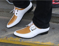 Wholesale New Fast Shipping Perfect Devise High Quality Men s White And Golden Wedding Shoes Prom Shoes Dress Shoes