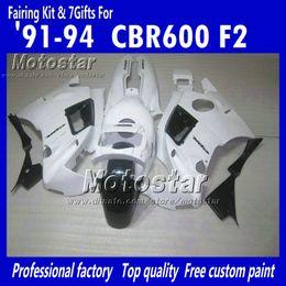 Descuento 91 carenados honda cbr Carenados de motocicleta para HONDA CBR600 F2 91 92 93 94 CBR600F2 1991 1992 1993 1994 CBR 600 carenados personalizados negro blanco brillante UU18