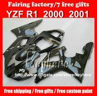 Wholesale Free gifts Custom race fairing kit forYAMAHA YZF R1 YZFR1 YZF1000R fairings G1q high grade new all black motorcycle prats