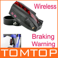Wholesale Bicycle Laser Tail light LED Bike Rear Light Wireless Braking Warning Brake H9524 Version