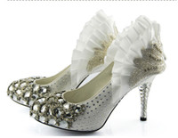 Wholesale Crystal diamond wedding shoes bridal shoes with stiletto shoes Women