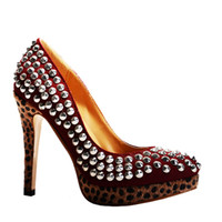 Pumps Women Stiletto Heel 2013 Charm of cashmere reddish-brown rivet fish mouth leopard grain red bottom water table and tall documentary shoes
