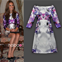 Wholesale New Fashion European Style Elegant Chiffon White Printed Purple Floral Designer Dress One Piece Pencil Dresses for Women