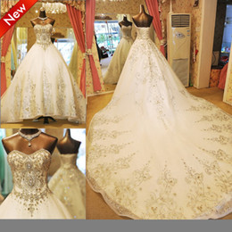 Sparkle Shining A Line Ball Gown Beads Crystal Chapel Train Lace Up Bridal Gown Wedding Dress