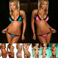 Wholesale HOT women bikini swimsuit sexy lace side bikini set Ladies micro bikini swimwear Beachwear thong bikini swimwear