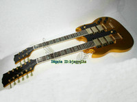Solid Body 6/12 strings Mahogany Goldtop 3 Pickups Double Neck Electric Guitar 6 12 Strings Wholesale