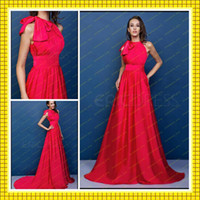High Neck affordable wedding designers - 2016 Fashion Designer Inspired Affordable Simple Red Wedding Evening Gowns Bow High Neck Slim A Line Long Cheap Beach Party Dresses