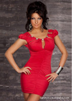 Wholesale 896 womens new fashion black red round neck short puff sleeve beading sexy lingerie clubwear party dress plus size M XXL