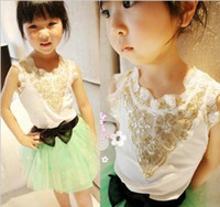 3-8 Girl Summer 2013 Summer Children Girls Retro Sequins Pattern Lace Stitched Sleeveless Tank Tops Girl Princess Grey White Vests B0618