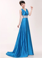 Satin Sleeveless Chapel Train Elegant Royal Blue V-Neck Sheath Pleated Satin Fashion Evening Dress A2