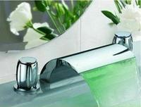 Chrome bath sink faucet chrome - Bathroom LED Tap Sink Bath Tub Waterfall Faucet Chrome Piece Set GA