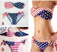 Women american flag spandex - Newest Women Summer Stars And Stripes USA Flag Bikini Padded Twisted Bandeau Tube American Swimwear Styles Free S M L Shipping