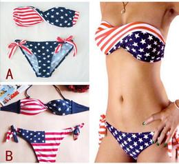 Wholesale Newest Women Summer Stars And Stripes USA Flag Bikini Padded Twisted Bandeau Tube American Swimwear Styles Free S M L Shipping