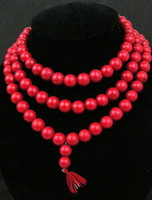 red coral beads necklace - asian Natural red coral Buddhist Prayer mm Beads Mala