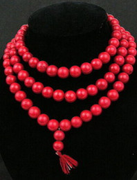Wholesale asian Natural red coral Buddhist Prayer mm Beads Mala