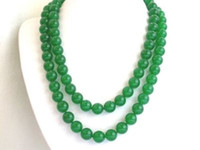 Asian & East Indian asian jewelry - 38 quot inch asian mm Natural green jade bead jewelry Necklace LONG