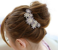 Hairpins   Crystal Rhinestone hair accessory fat plug luxury rhinestone hair maker insert comb jt035
