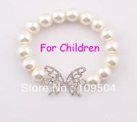 children charm bracelet - NEW Elastic Children Butterfly Bracelet Stretchy Simulated Pearl Bracelet Bangle for Kids Child ZB34
