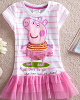 Wholesale LU1 Nova kid wear new summer hot Peppa pig girl applique sequin dress tunic top5pcs