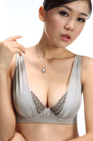 Wholesale Sexy glass yarn adjustable side gathering underwear large push up bra ultra thin breathable lace trim full bust support bra