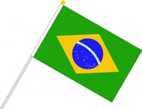 Wholesale 2014 World Cup Brazil Mini Dynamo banner Hand waving flags Competition cheer flag