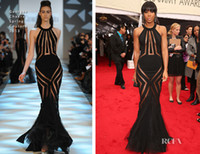 Wholesale custom made summer Pageant Dresses kelly rowland th Annual grammys red carpet tulle satin Black Mermaid sexy dresses