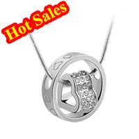 Wholesale Hot Sales Rhinestone Pave Crystal Heart Pendant Necklace Fashionable Designer Jewelry