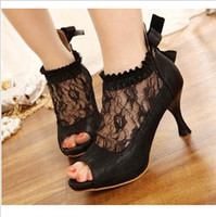 Wholesale Fashion Spring Gorgeous Korean Ladies Sweet Lace Hollow High Heel Sandals Womans Bow Toe Open Shoes Apricot Black EUR Size
