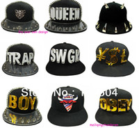 Wholesale Snapback Baseball Cap D Letters Rivet Spikes Bolted Mens Cap Hat pc many design U choice ZHT03