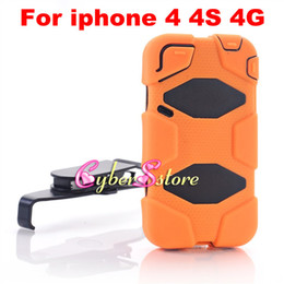 Wholesale New Hybrid Military Silicone amp PC Shell Shockproof Duty Stand Case Cover with Belt Clip For iphone S G